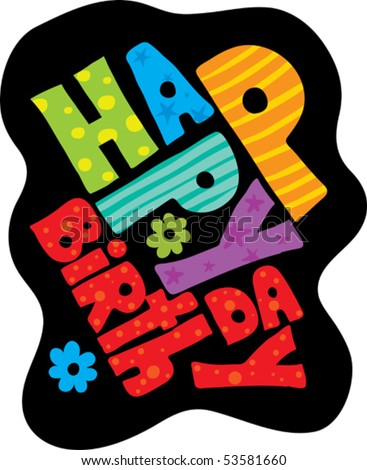 birthday on black - stock vector