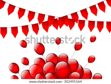 Birthday or party background with flags and balloons  - stock vector