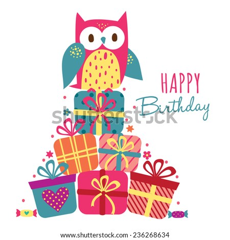 Birthday owl and gifts illustration - stock vector