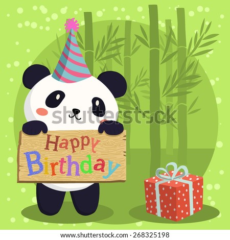 Birthday Panda Cartoon. A cute panda with party hat holding birthday greeting board in green bamboo background. - stock vector