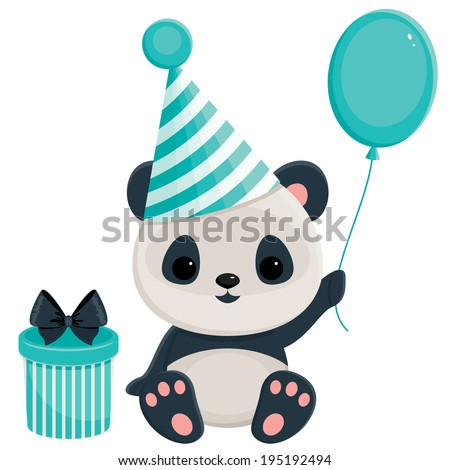 Birthday panda with gift box and balloon. Panda in blue - stock vector