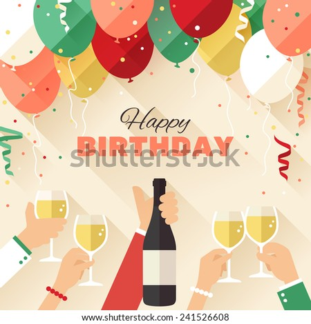 Birthday party. Announcement / poster / flyer / greeting card in a flat style - stock vector