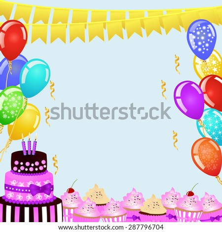 Birthday party background with bunting flags, balloons, birthday cake and cupcakes. EPS10 vector illustration - stock vector