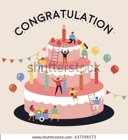 birthday party big cake cartoon vector illustration flat design