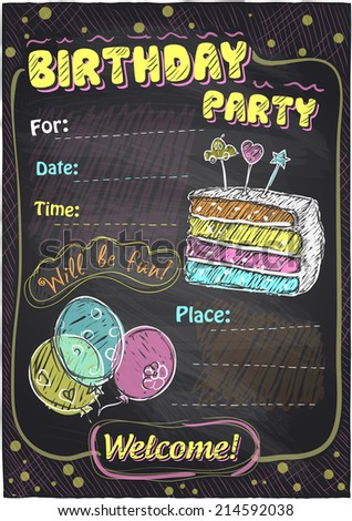 Birthday party chalkboard design with place for text. Eps10 - stock vector
