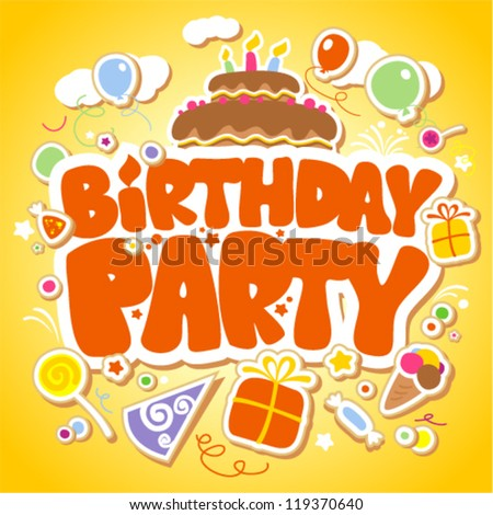 Birthday Party design template for children.