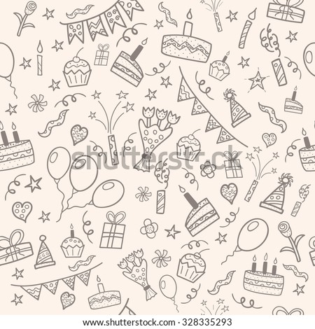 Birthday party doodle seamless pattern. Vector illustration