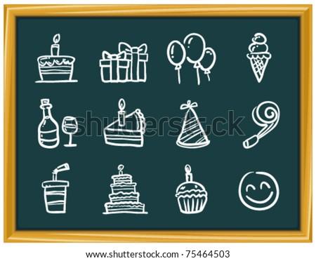 birthday party elements - stock vector