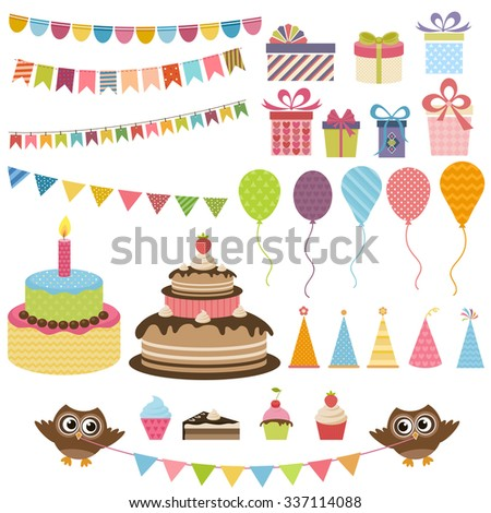 Birthday party elements set - stock vector