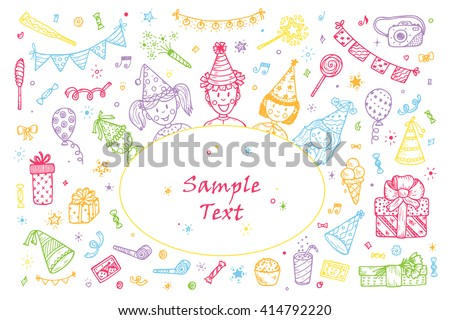 Birthday party elements vector set. Happy birthday card Template. Birthday elements. Hand Drawn Doodle children, birthday cake, sweets, bunting flag, gift, festive paper cap, festive attributes  - stock vector