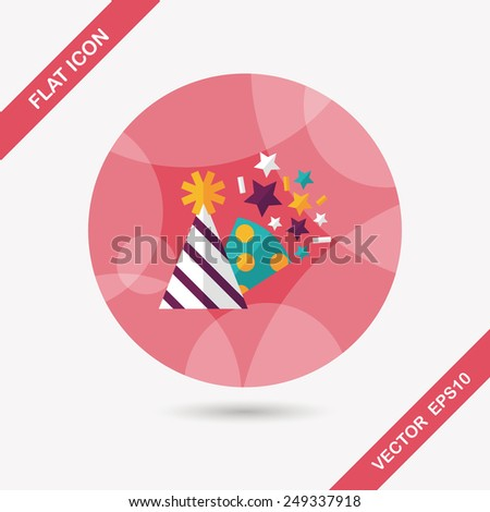 birthday party hat flat icon - stock vector