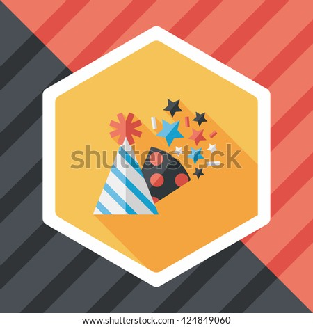 birthday party hat flat icon with long shadow,eps10 - stock vector