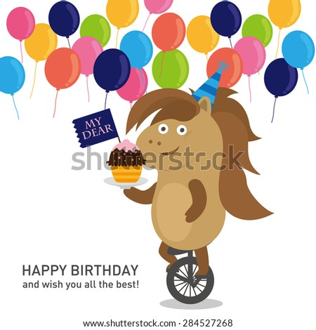 Birthday party.Horse - stock vector
