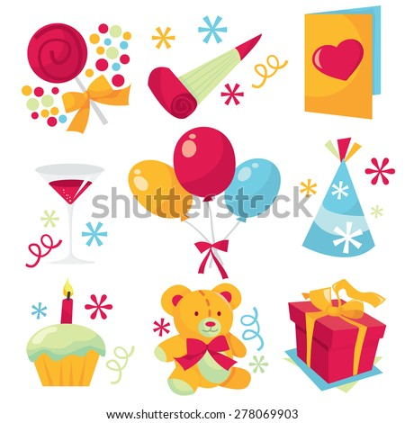 Birthday party icon set vector illustration.