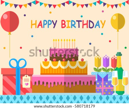 Birthday Party Illustration Flat Design Background Stock Vector
