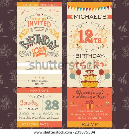 Birthday party invitation boarding pass ticket. Face and back sides - stock vector
