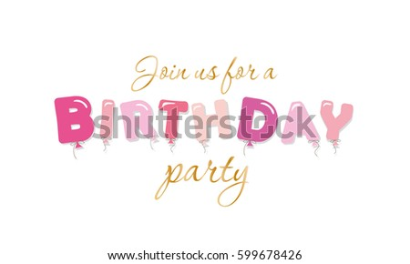 Birthday party invitation girls glamour pink stock vector 599678426 birthday party invitation for girls glamour pink and gold letters thecheapjerseys Choice Image