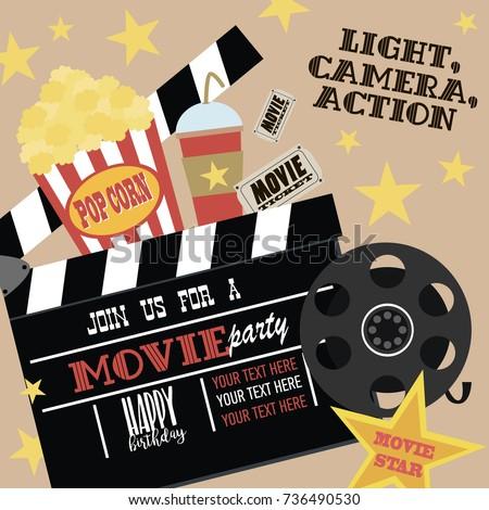 Movie Night Birthday Party Card Stock Vector 192465260 Shutterstock