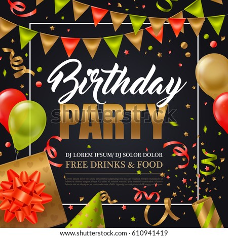 Birthday Party Invitation Poster Colorful Holiday Vector – Party Invitation Background