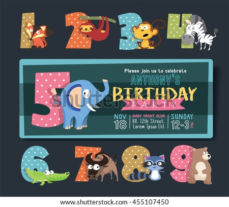Birthday Party Invitation Template with Numbers and Funny Animal Characters. - stock vector