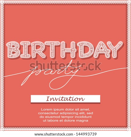 Birthday party invitation lace letters stock vector 144993739 birthday party invitation with lace letters thecheapjerseys Choice Image
