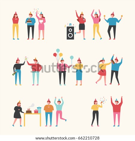 Birthday party people vector illustration flat design
