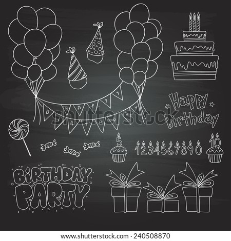 birthday party scribbles - stock vector