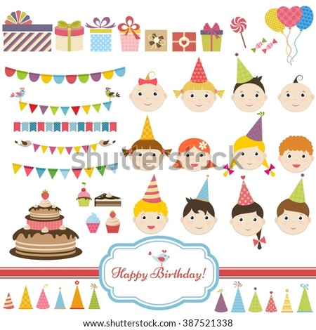 Birthday party set with children - stock vector