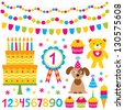 Birthday party vector design elements set - stock vector