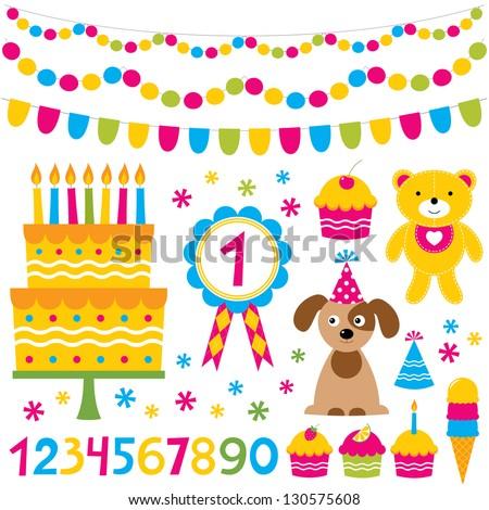Birthday party vector design elements set - stock vector