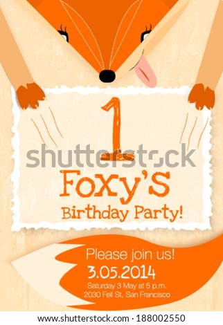 birthday party vector greeting card. fox illustration vector background. - stock vector