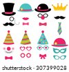 Birthday party vector photo booth props - stock photo