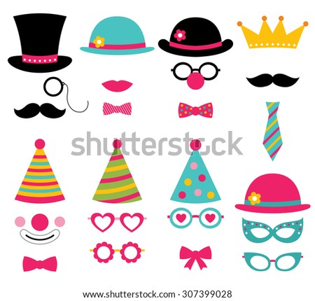 Birthday party vector photo booth props - stock vector