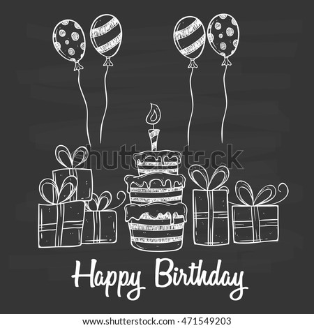 Birthday party cake balloon gift using stock vector 471549203 birthday party with cake balloon and gift using doodle art on chalkboard background negle Image collections