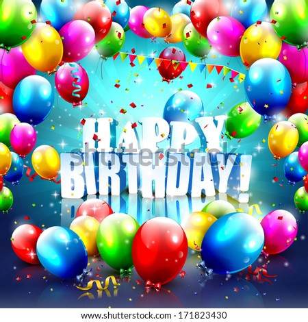 Birthday poster with balloons and 3D text - vector background with copyspace - stock vector