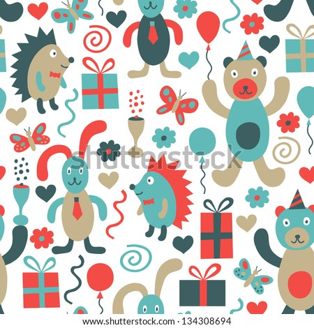 Birthday seamless background - stock vector