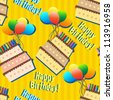 birthday seamless pattern with cakes and balloons on yellow - stock vector