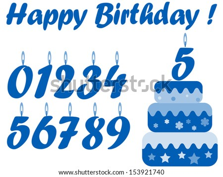 Birthday set in the blue colors ,  for boy. - stock vector