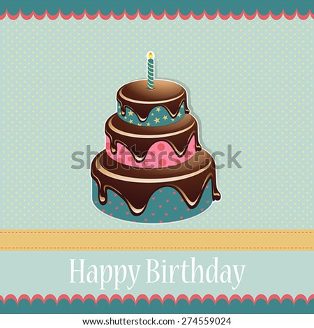 Birthday template with birthday cake on a spotted background for your greeting card