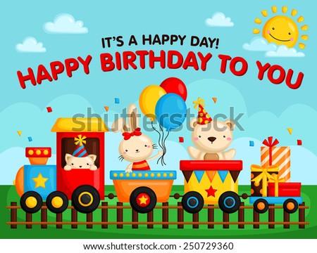 Birthday Train Card - stock vector