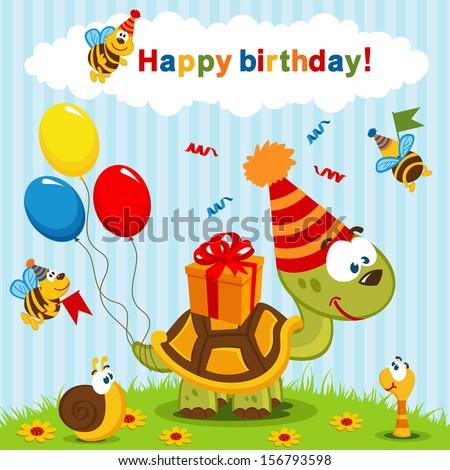 birthday turtle - vector  illustration - stock vector