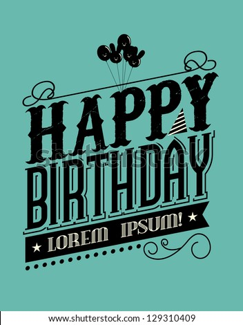 Birthday Typography Template Vectorillustration Stock Vector ...