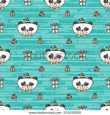 birthday vector seamless pattern cute baby stock vector 531010009