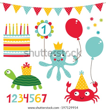 Birthday vector set - stock vector