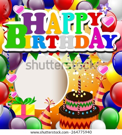 birthday with balloon background - stock vector