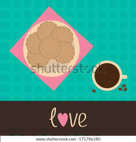 Biscuit cookie cracker on the plate and cup of coffee. Love card. Vector illustration. - stock vector