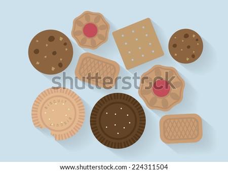 biscuit flat design vector/illustration - stock vector