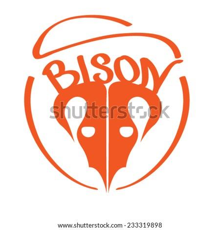 bison logo design - stock vector