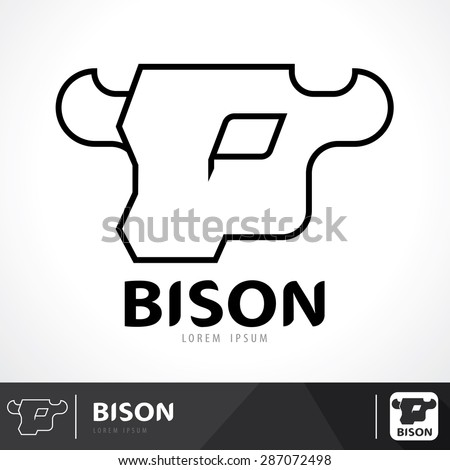 Bison symbol icon design. Logo template. Vector illustration, line style - stock vector