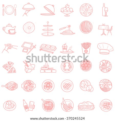 bistro icons pictogram vector collection isolated design elements set. contour outline simbols objects food and beverages. - stock vector